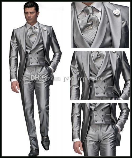 Custom Made Silver Grey Wedding Suits for Men Notch Lapel Groom ...
