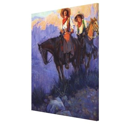 Man and Woman on Horses, Anderson, Vintage Cowboys Stretched Canvas Prints