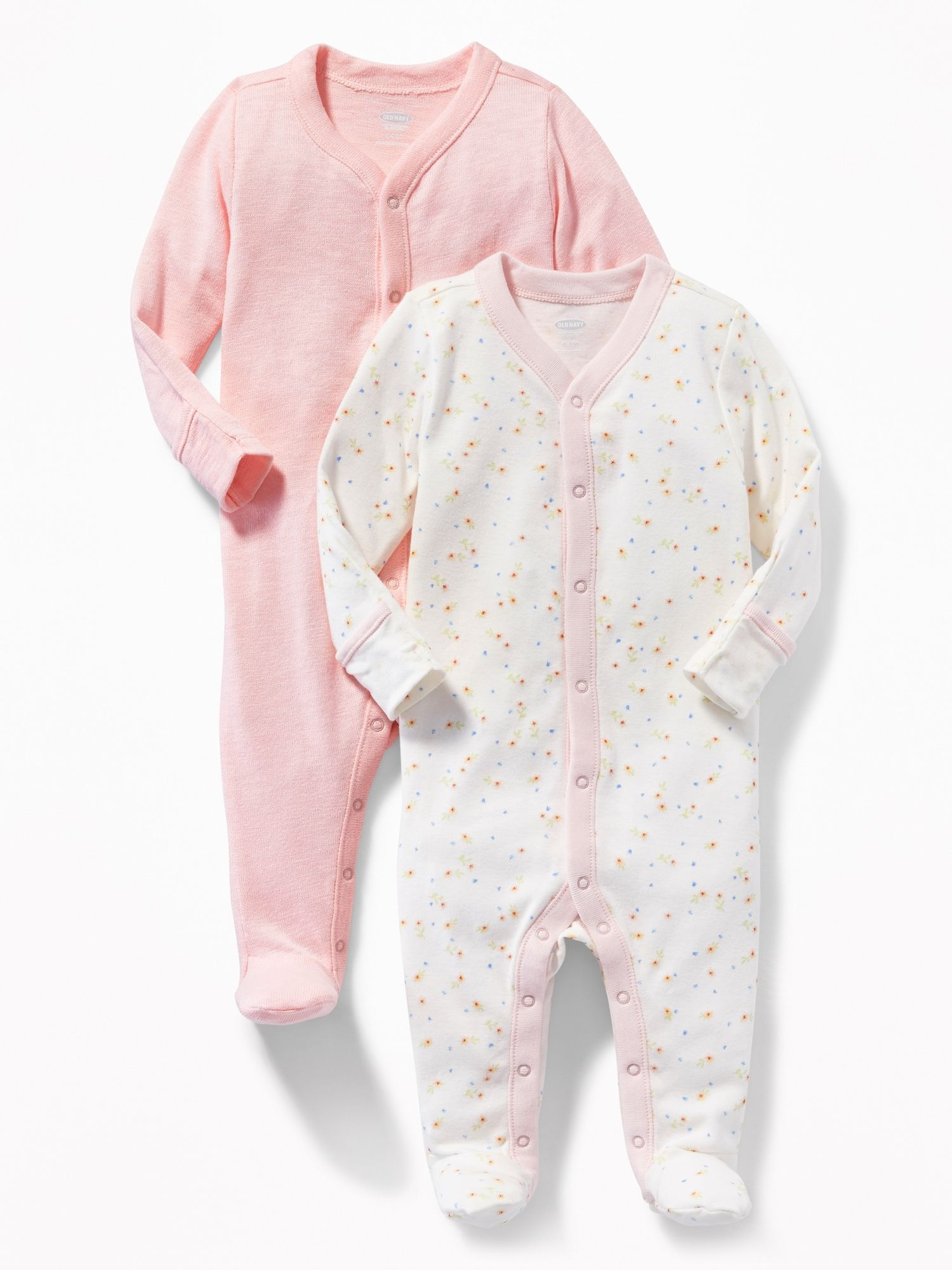 Footed One Piece 2 Pack Gift Set For Baby Old Navy Comfortable Baby Clothes Baby Girl Layette Baby Girl Pajamas