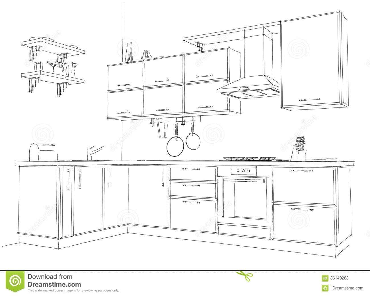 Sketch Contour Drawing Of 9d Modern Corner Kitchen Interior Black ...