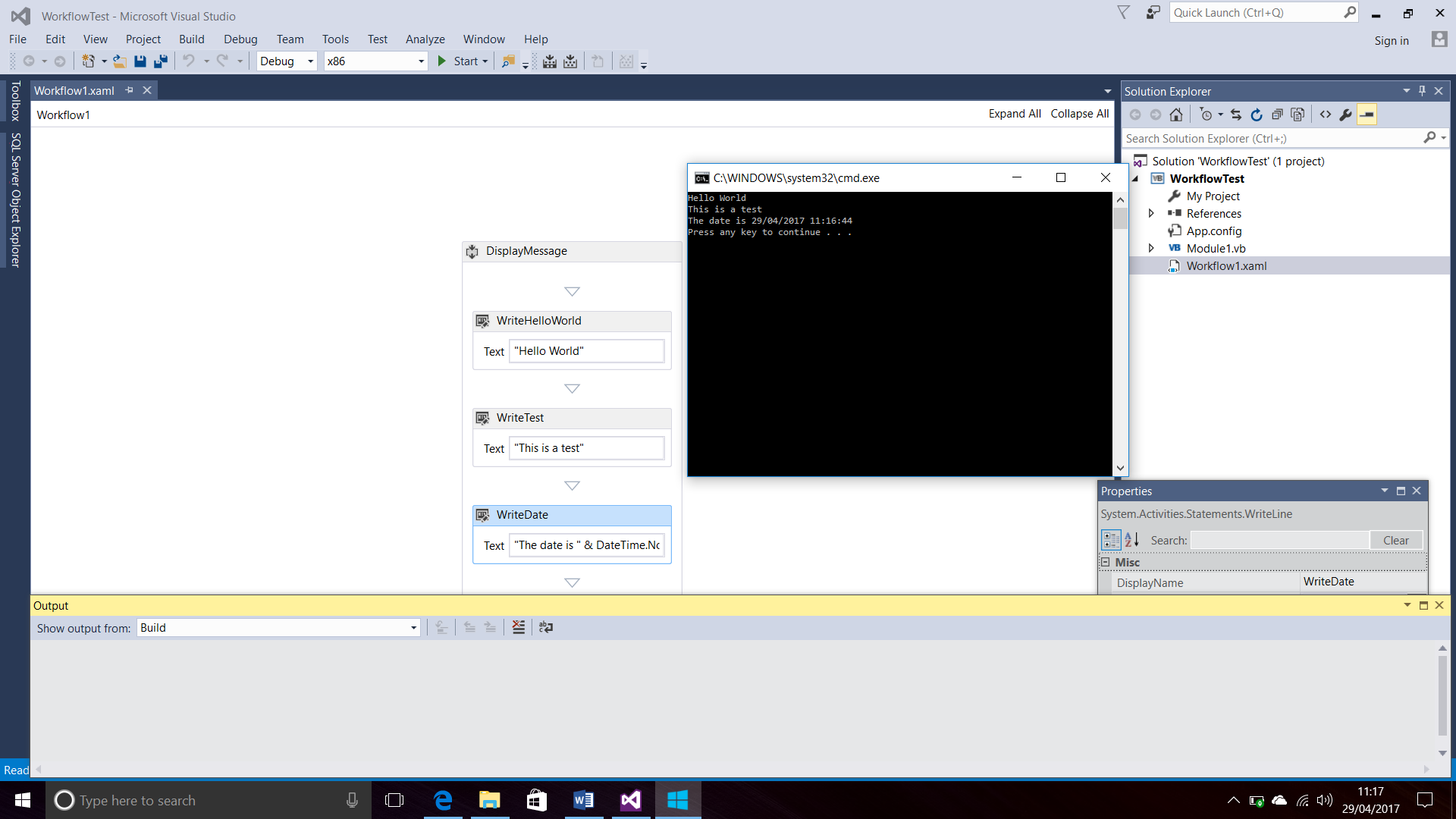 screenshot of workflow and the console window in visual studio 2015