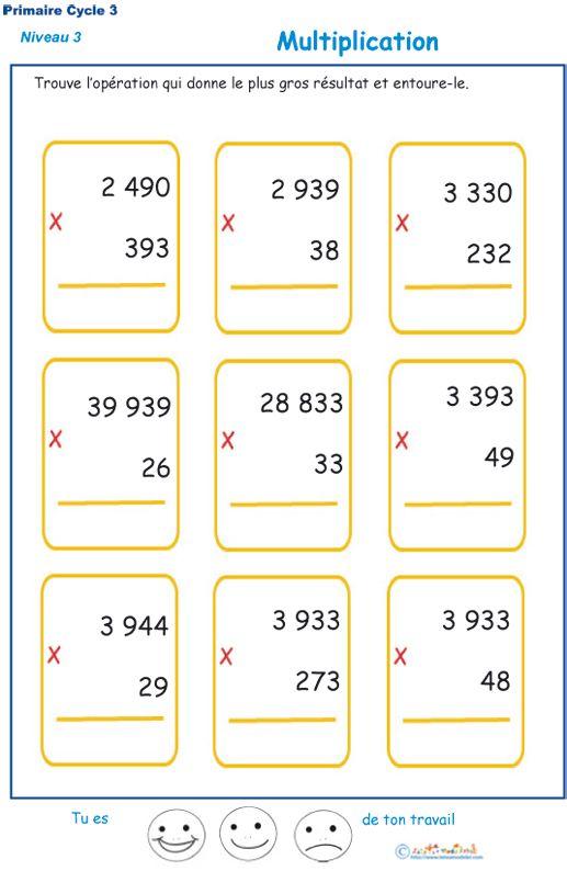Multiplications imprimer pour les l ves de cm1 et cm2 for Exercice table de multiplication