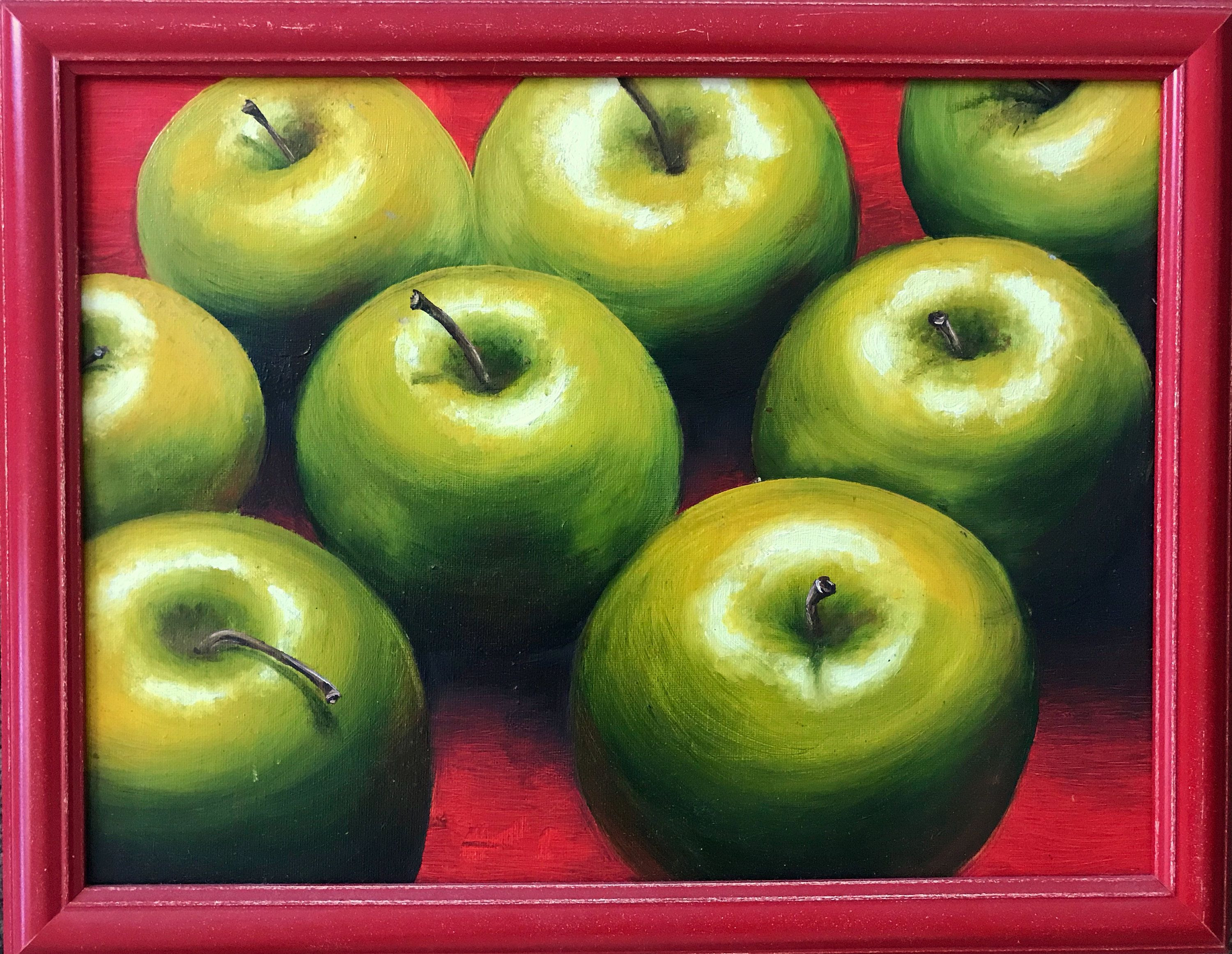 Green Apples Original Painting Oil On Canvas Fruit Canvas Etsy Oil Painting Green Wall Decor Original Paintings