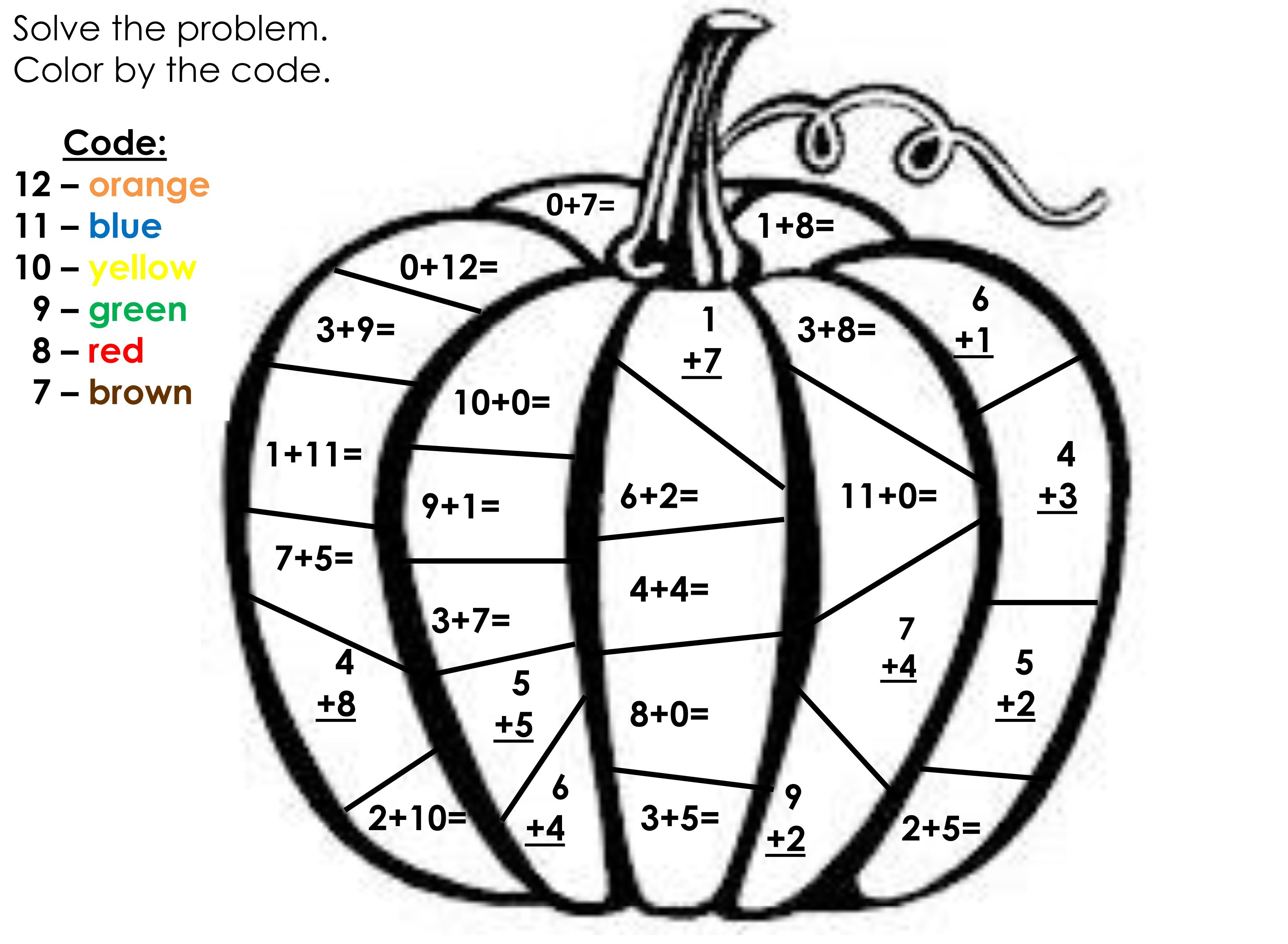 Coloring sheet halloween multiplication - My Daughter Had This For An Extra Activity For Math So I Wanted To Share