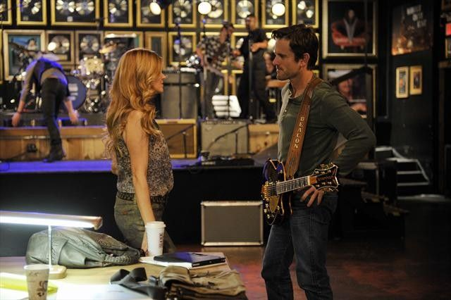 Rayna And Deacon In Season 1 Taking A Break From Practicing Recognize The Wall Of Gold Records Background