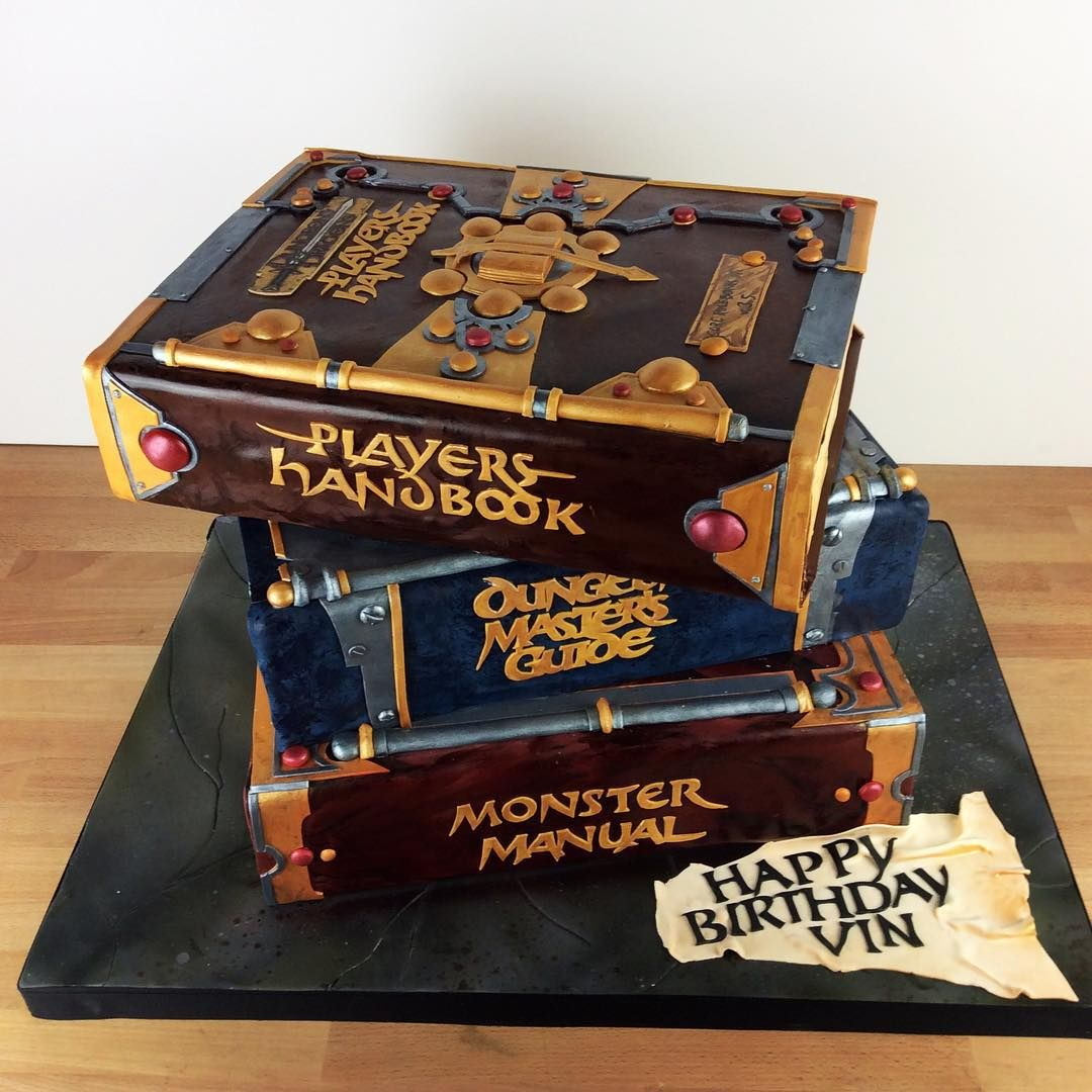"""Charm City Cakes on Instagram: """"Who knew that @Vindiesel was a Dungeons & Dragons fan? We had a blast making this Dungeon Master's Guide cake for his birthday!"""""""