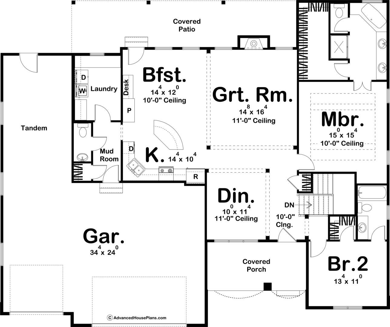 1 story traditional house plan larkin basement house