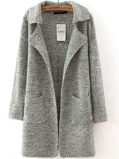 Grey Lapel Long Sleeve Pockets Sweater Coat  0c9e6f6de