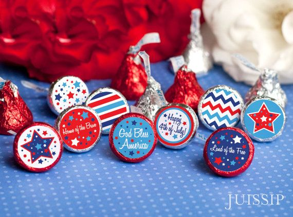 4th Of July Party Decorations Printable Hershey Kiss Label Sticker Independence Day Instant Download Favor Fourth Decor