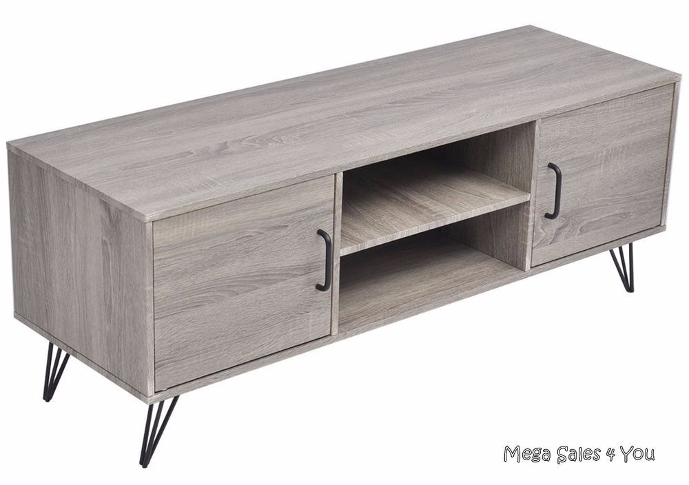 Contemporary Tv Cabinet Wood Metal Legs Sideboard Stand Storage Unit