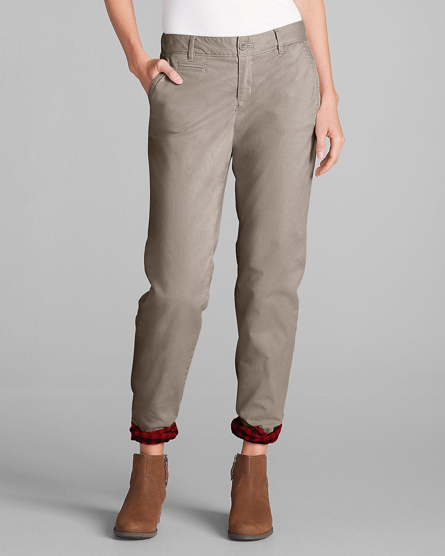 Women s Stretch Legend Wash Flannel-Lined Pants - Boyfriend ... 11975480ced7