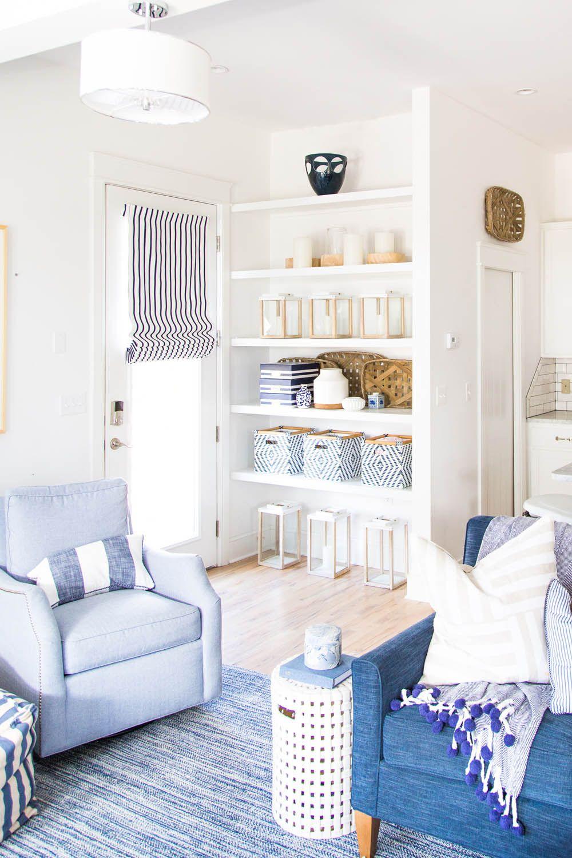 A navy on navy living room | Image via Rue Mag | Interior Decor ...