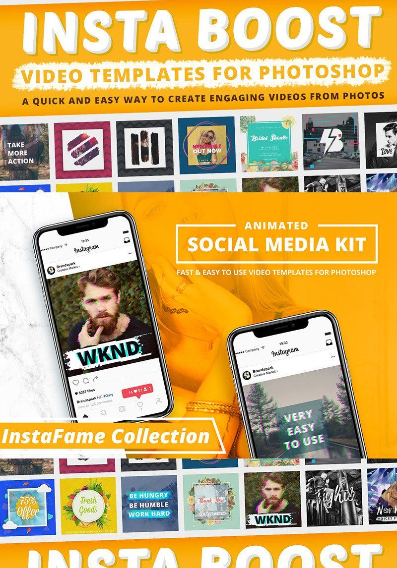 Animated instagram video templates for social