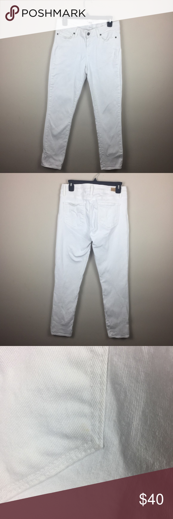 "c4bfdf7bf0d Paige Kylie crop optic white roll up skinny jeans Paige Kylie crop roll up  skinny jeans in optic white. Waist is 31"". Inseam is 28"" rise is 11.5"" hi  rise."