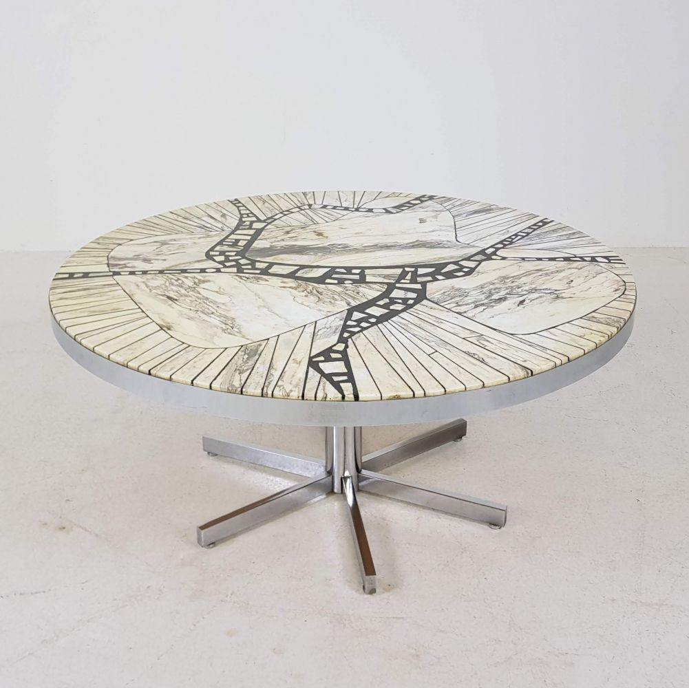 For Sale Marble Mosaic Carara Round Coffee Table By Heinz Lilienthal Germany 1960s Coffee Table Round Coffee Table Marble Mosaic [ 1000 x 1001 Pixel ]