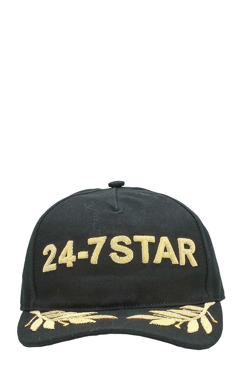 e73a6c2fc05 DSQUARED2 24-7 STAR BLACK COTTON SNAPBACK CAP GOLDEN LOGO.  dsquared2