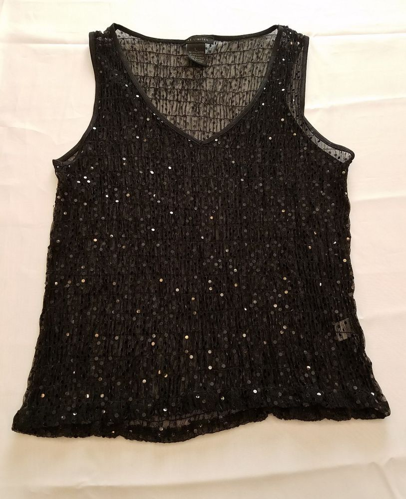 6843c1d1d207f6 The Limited Large Top Sleeveless stretch smock sequin sheer shirt clubwear  bling