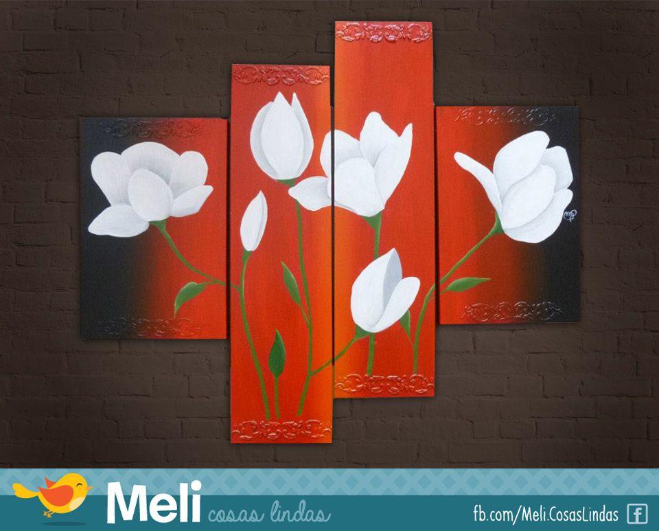 Cuadríptico de flores blancas