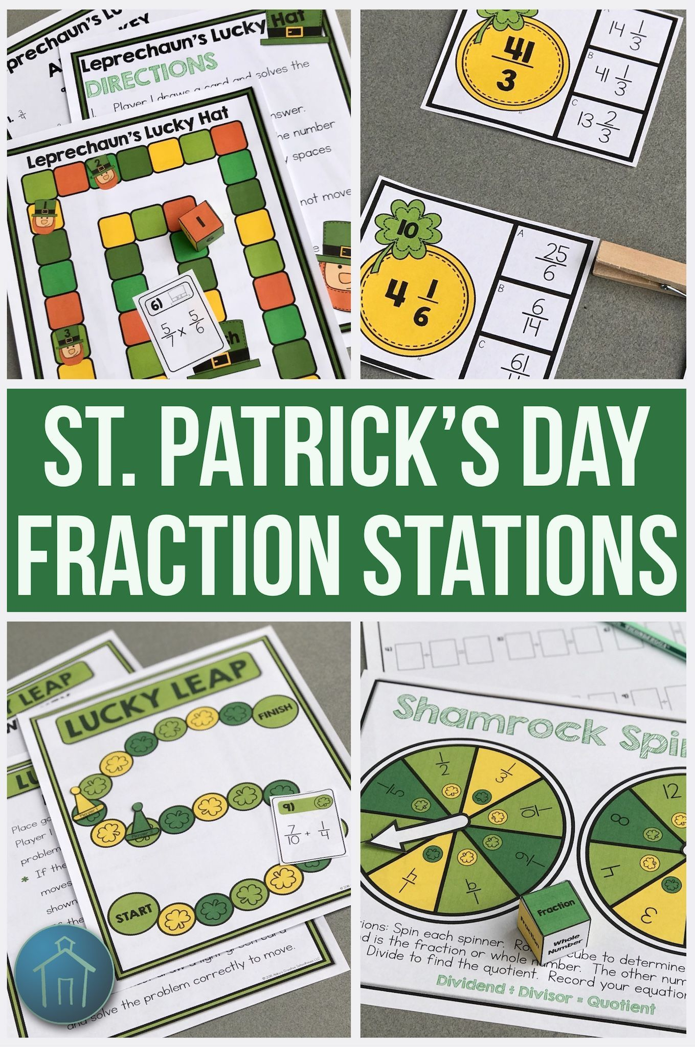 St Patrick S Day Math Fraction Activities