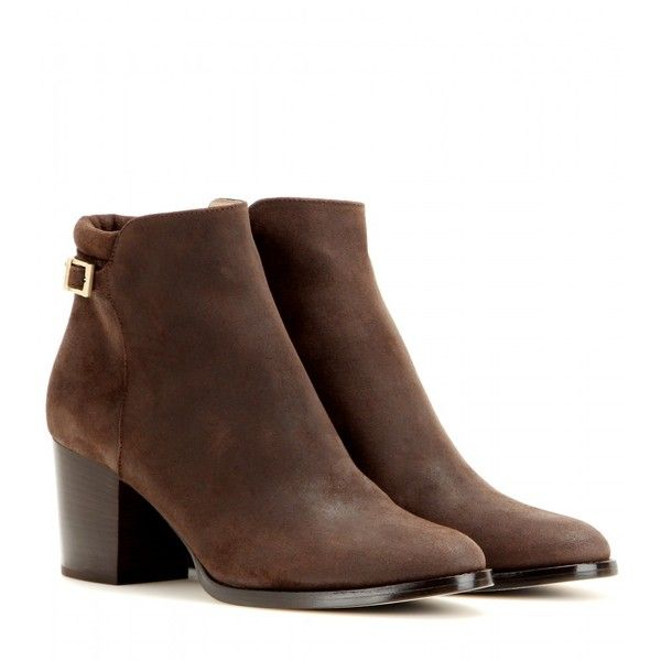 Jimmy Choo Method 65 Suede Ankle Boots ($585) ❤ liked on Polyvore featuring shoes, boots, ankle booties, booties, ankle shoes, brown, suede boots, bootie boots, brown suede booties and brown bootie