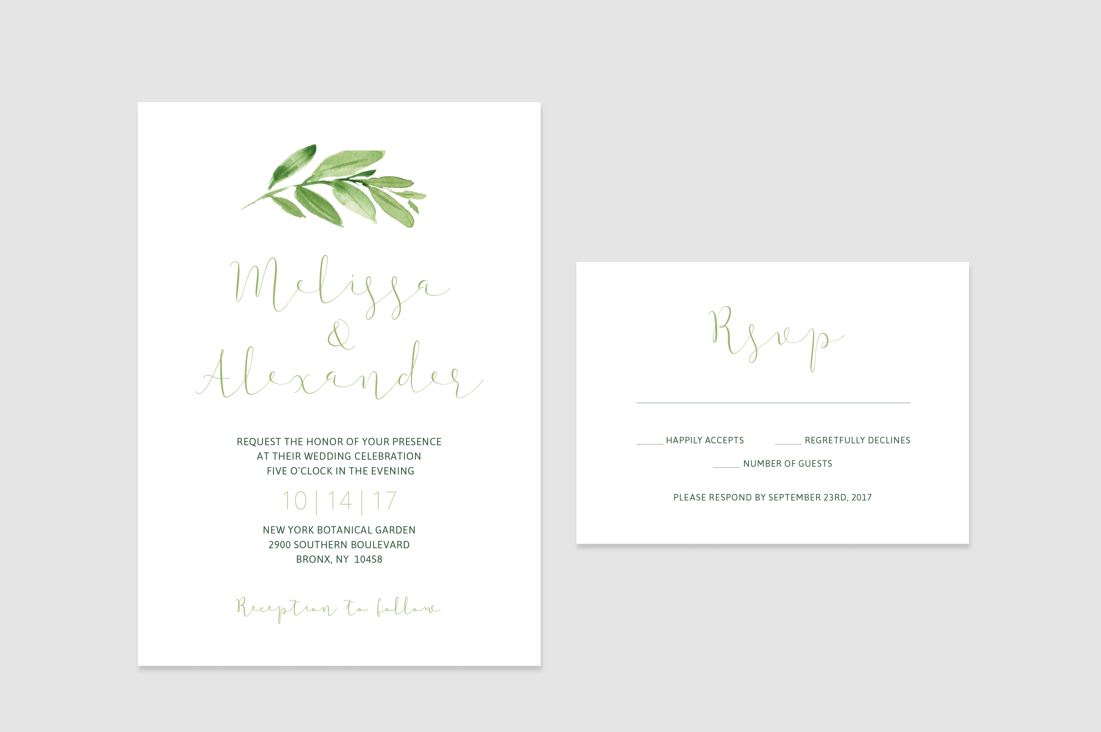 Simple Modern Minimalist Greenery Wedding Invitation Set Perfect For A Boho Wedding Fun Wedding Invitations Cheap Wedding Invitations Wedding Invitation Sets