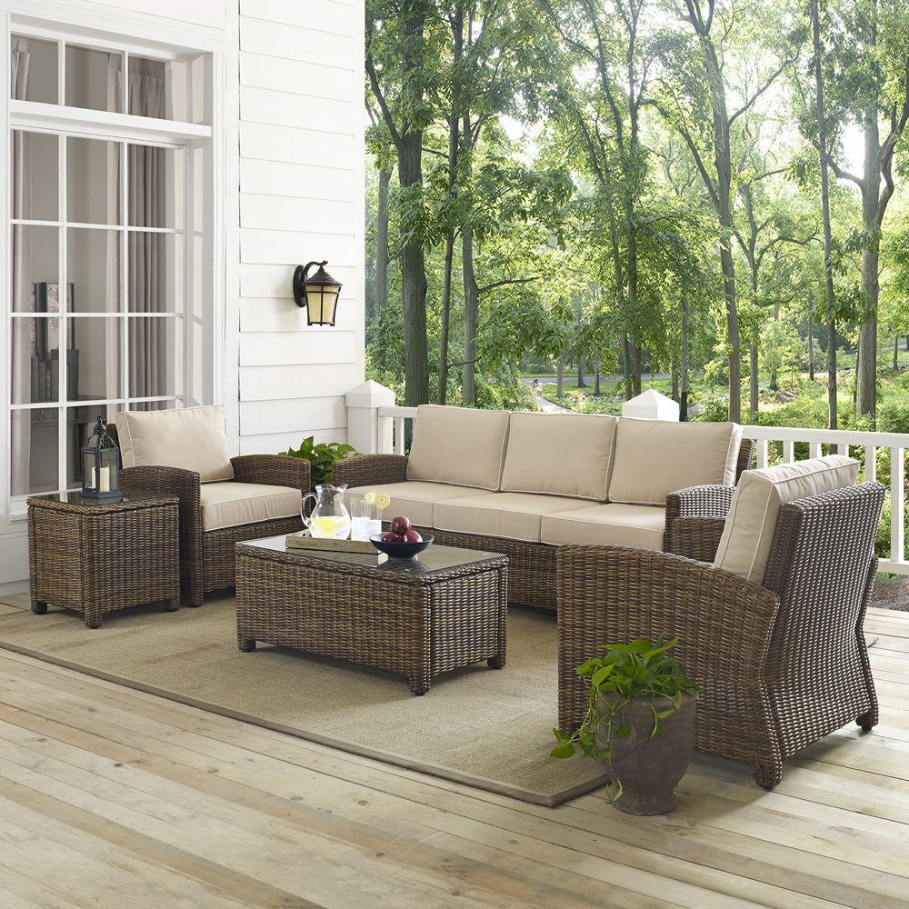 Crosley Furniture Bradenton 5 Piece Outdoor Wicker Sofa