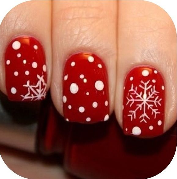 Winter nails. Use only one design on one nail for a cleaner look ...