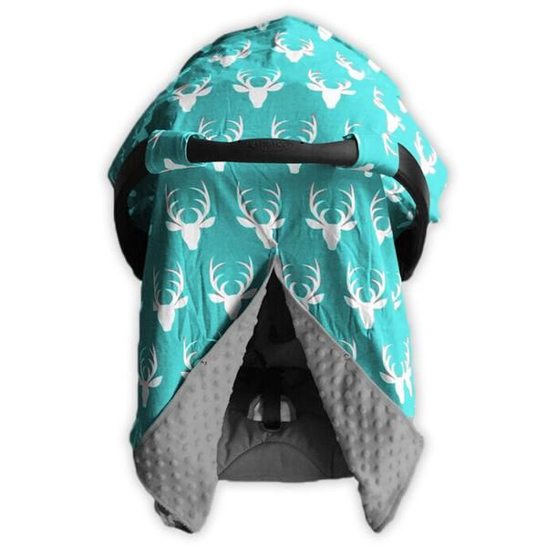 Teal deer gray minky car seat canopy to mix and match with our adorable outfits and optional matching blanket, bib, beenie-hat and pant set. Care: Washing instr
