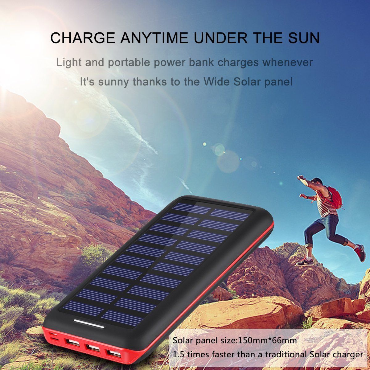 Battery Pack Akeem Portable Charger 22000mah External Battery Power Bank With Dual Input Port And Solar Charger 3 Usb Powerbank Solar Charger Phone Power Bank