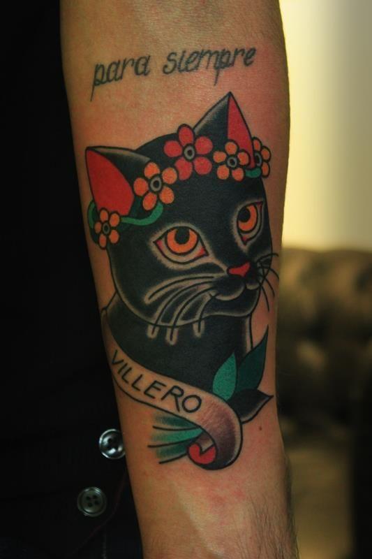 American Traditional Cat Tattoo : american, traditional, tattoo, Something, Similar, Traditional, Cuter/fluffier, Face,, Collar,, Possibly, Tiara,, Frame, Wi…, Black, Tattoos,, Tattoo,, Tattoo