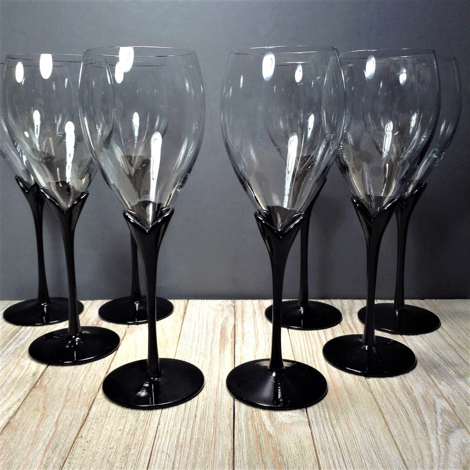 Vintage Black Stem Wine Glasses 9 3 4 Set Of 8 Colony Vintage Wine Glasses Vintage Stemware Wine Goblets