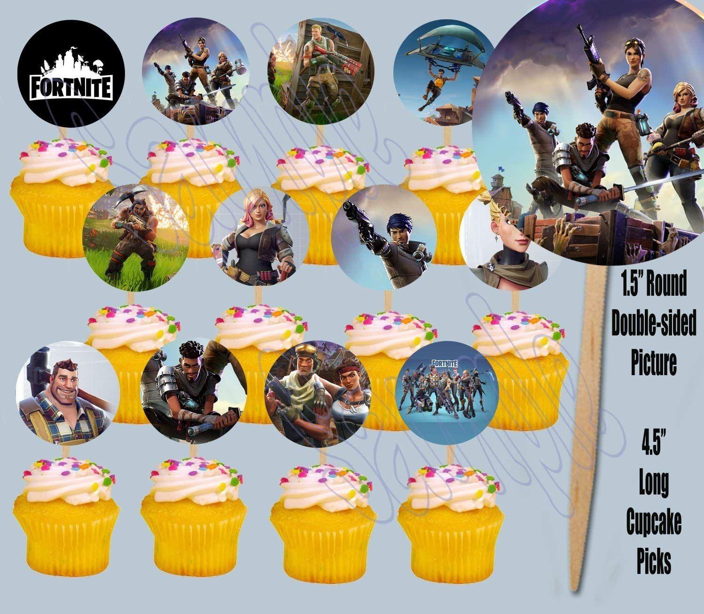 Amazon Com Fortnite Cupcake Picks Double Sided Images Cake