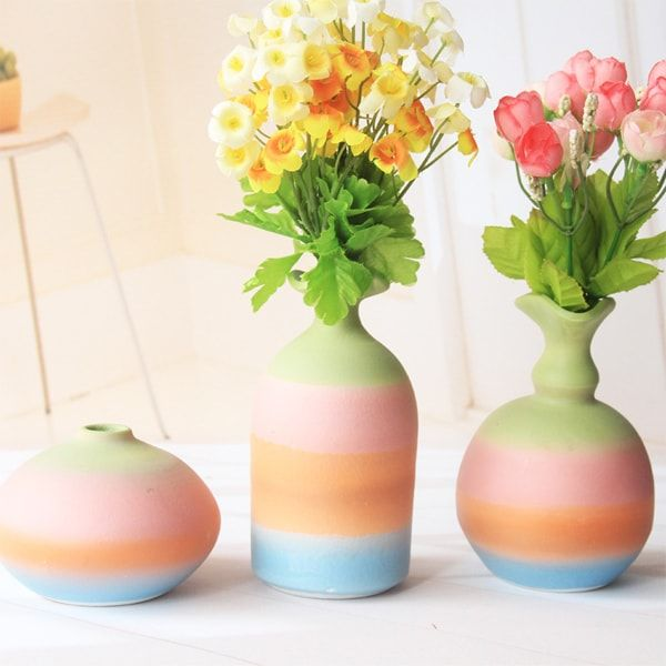 Decorate Your Home With The Colors Of The Rainbow! Each Vase Is Hand Thrown