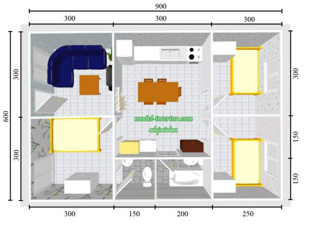 Bentuk Rumah Sederhana Ukuran 6x9 Meter 3 Kamar Tidur