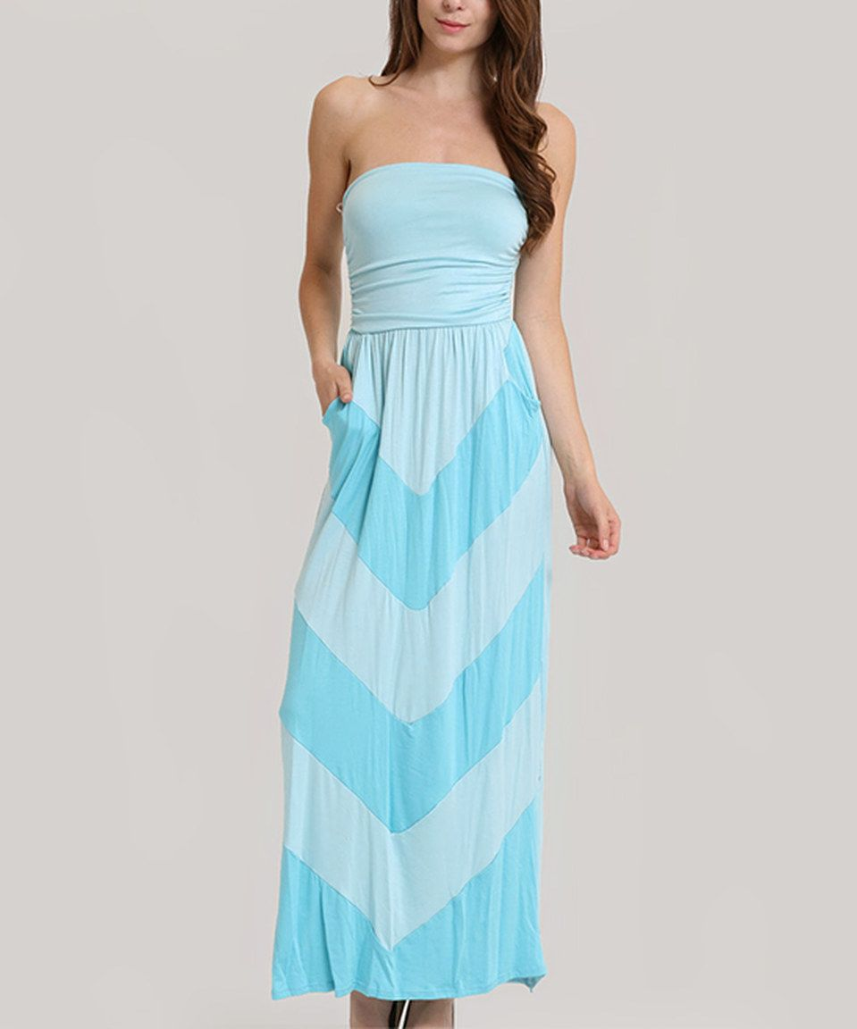 Light blue chevron strapless maxi dress by funkitribe zulily
