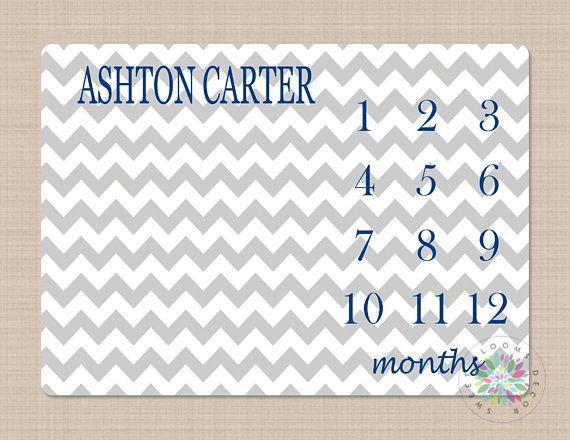 Milestone Blanket Monthly Growth Tracker Navy Blue Gray ...