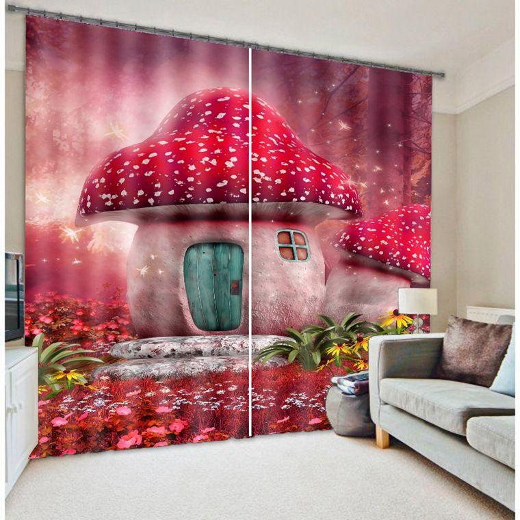 Mushroom House Cartoon 3D Blackout Curtains For Kids Living room ...