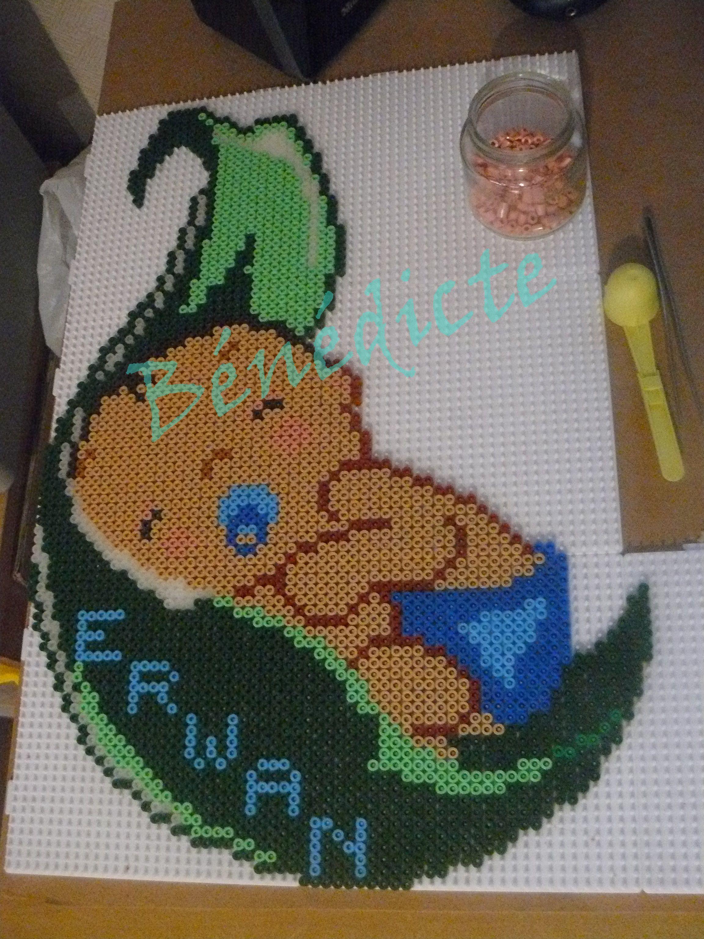 Custom baby perler art hama beads by Bénédicte Lambert - Pattern: https://www.pinterest.com/pin/374291419007120437/