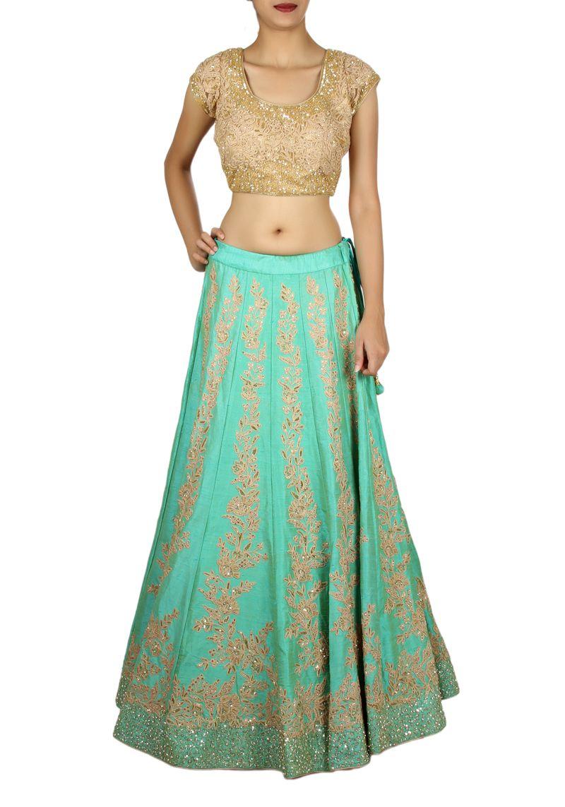 Chaniya Choli : Green and Pink Designer Wedding Chaniya Choli ...