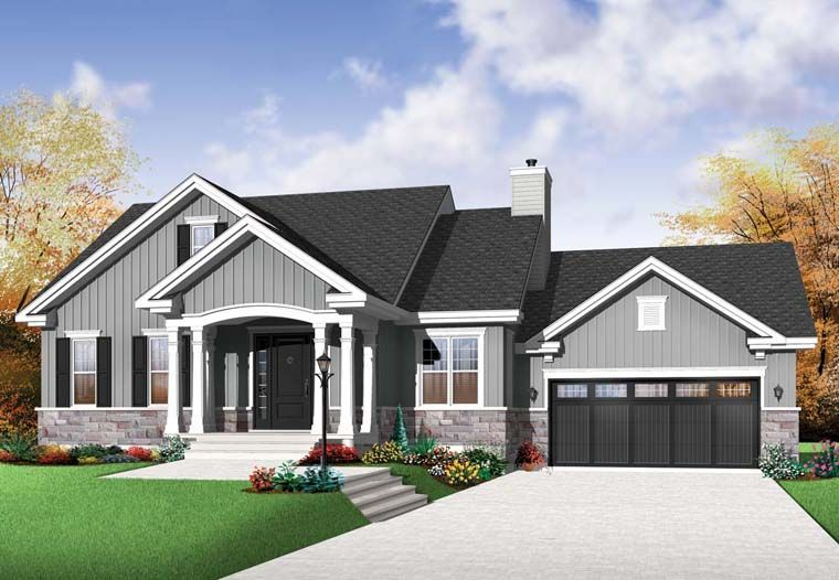 Craftsman Style House Plan 76291 with 2 Bed , 1 Bath , 2