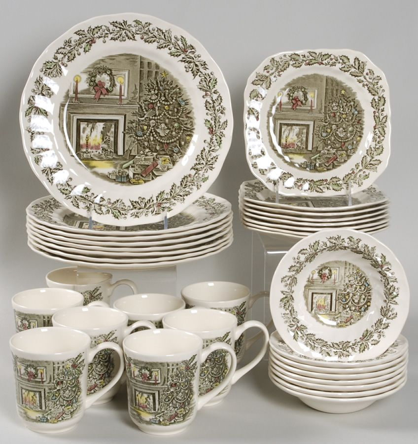 Johnson Brothers Merry Christmas 32-Piece Dinnerware Set | X-Mas ...