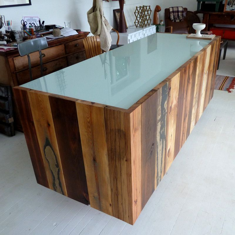 Glass and recycled wood sales counter or reception desk DESKS