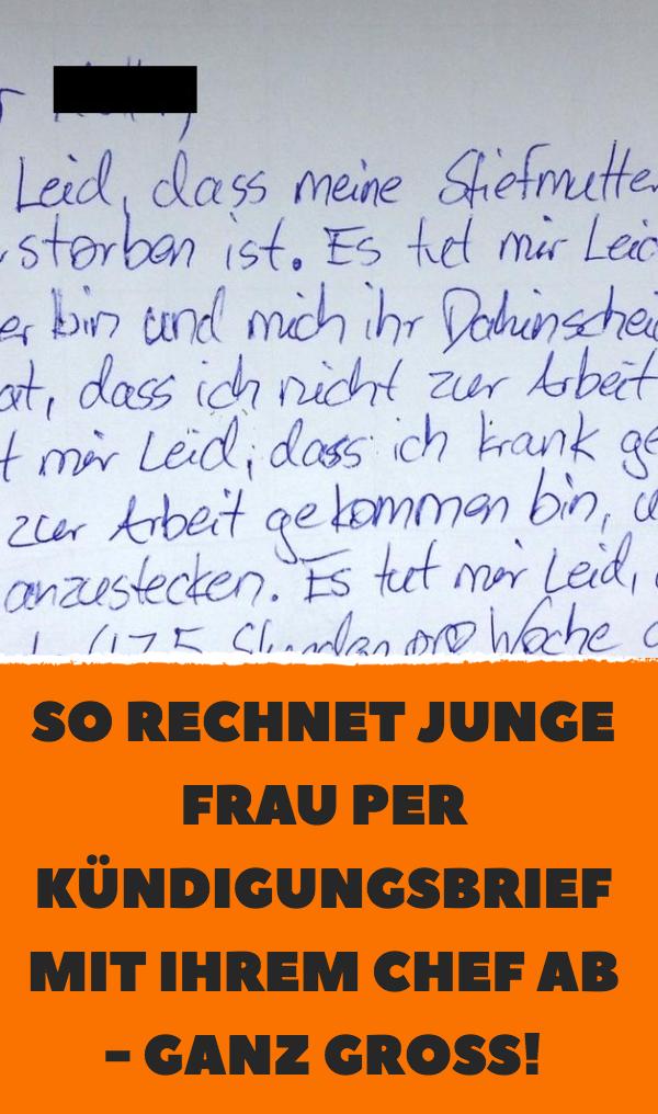 Junge Frau Rechnet Per Kündigungsbrief Mit Chef Ab Tatsache Abs