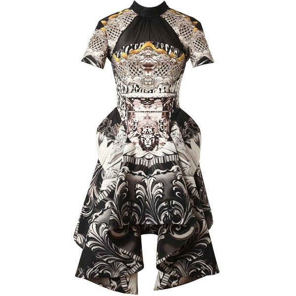 Mary Katrantzou 'Ebony' Printed silk faille Victorian bustle dress ❤ liked on Polyvore