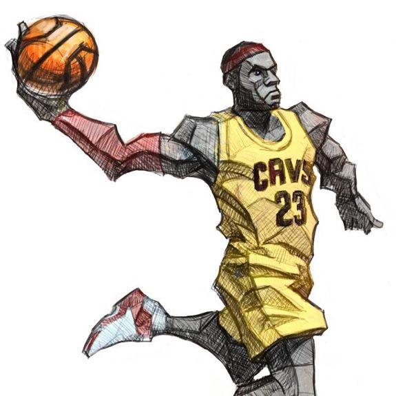 Preliminary sketch for LeBron James  - fresh nba coloring pages of lebron james