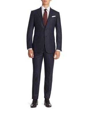 ERMENEGILDO ZEGNA Pinstriped Wool & Silk Blend Suit. #ermenegildozegna #cloth #suit