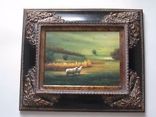 Oil Painting on Canvas of Sheep in Meadow Signed by Artist - Beautifully Framed