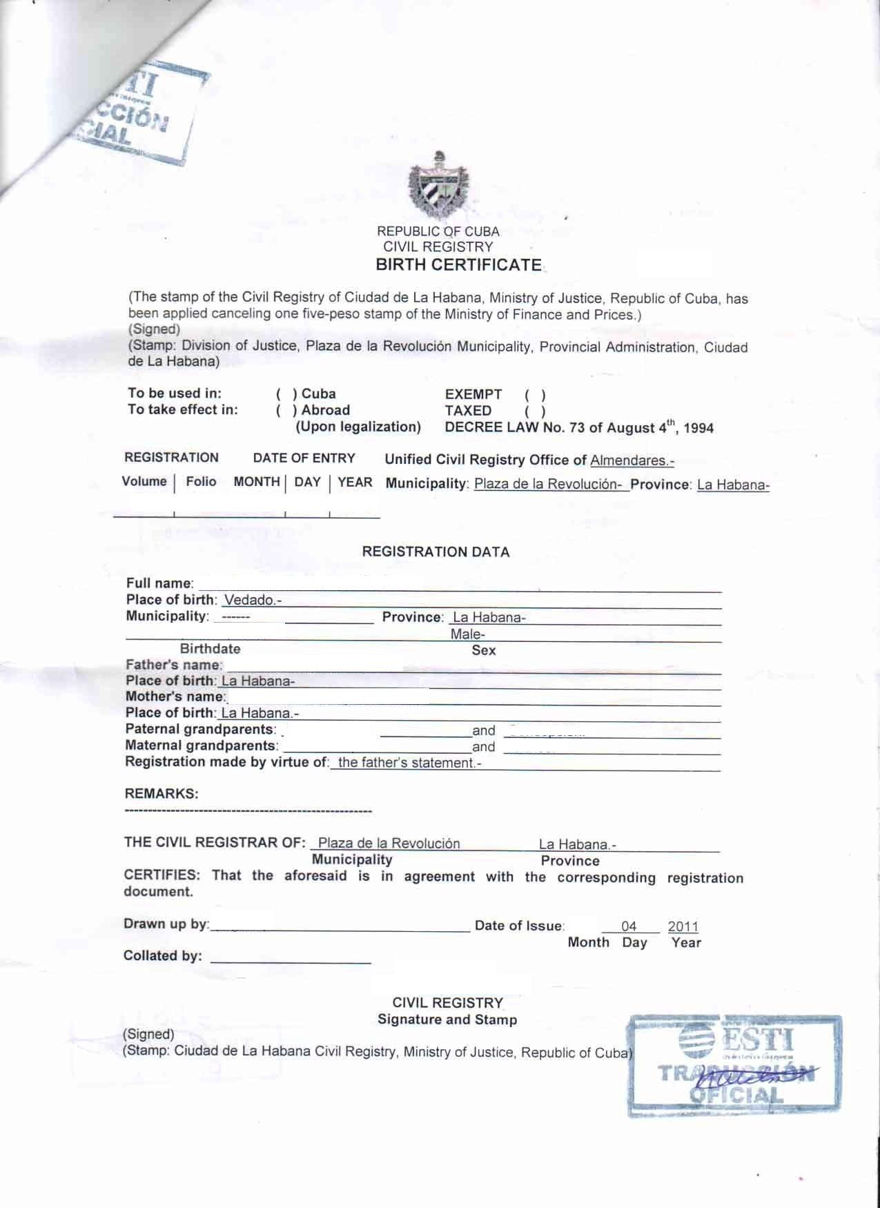 Birth Certificate Cuba English Translation Sample In 2020 Birth