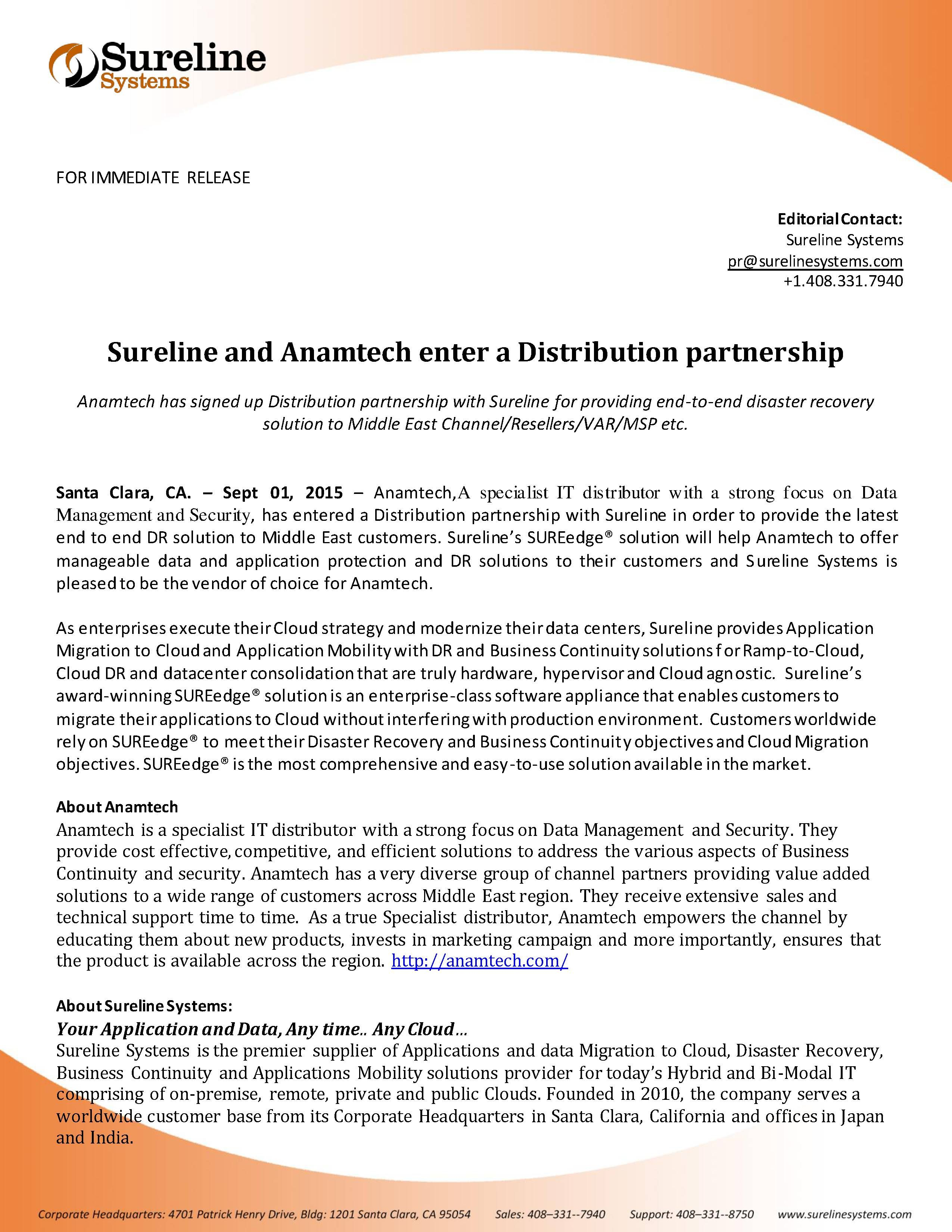 Disaster Recovery Specialist Sureline And Anamtech Enter A Distribution Partnership Anamtech