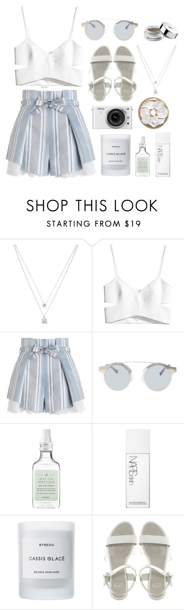 """""""Vanity"""" by forevermiya ❤ liked on Polyvore featuring Betsey Johnson, H&M, Zimmermann, Forever 21, Drybar, Nikon, NARS Cosmetics, Byredo, Faith and It Cosmetics"""